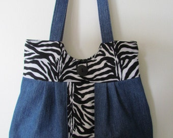 Zebra and Denim Purse