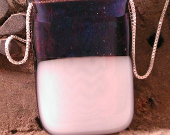 Royal Blue Opalescent Fused Glass Pendant