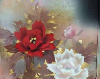 Silk Kimono Wrap/Shawl/Shrug..Flowers Peony..Red/Gold/Lavendar on Black..Floral..Bridal/Wedding Gift..see Clutch/Purse/Bag