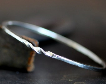 Hand wrought twist bangle, simple sterling silver bangle with a twist, hammered forged bangle
