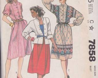 McCall's 7858 Misses' Top and Skirt Size 14 Vintage UNCUT Pattern Rare and OOP
