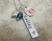 New Mommy Multi Metal Sterling Silver Mommy Necklace with Birthstone Name Tag Sterling Silver Heart Charm and Copper Baby Feet Stamping