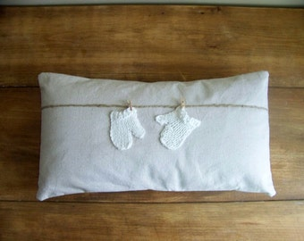 mitten pillow / mittens / clothes line / winter home decor / pair of white mittens / knitted mittens / christmas pillow / cold / snow