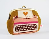 Metal frame purse with two sections - Typewriters in pink - Maxi siamese / Mustard Ochre yellow / Rose pink  / Mod retro / Heart
