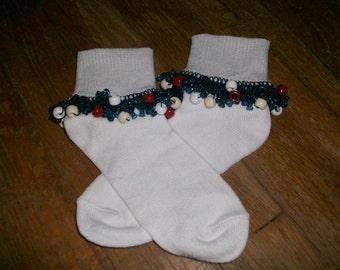 School Uniform Color Medley Navy, Red, White, Khaki Beaded Socks, fancy socks, ruffle socks, girls socks, dressy sock, lace sock, bobby sock