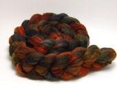 Handpainted Merino Silk Swirl Roving - Salem Nights - 4 oz Orange Black