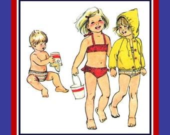 Vintage 1974- Fun in the Sun- Toddler Bikini- Bathing Suit- Hoodie Jacket-Raglan Sleeves- Sewing Pattern- Quick & Easy To Sew -Size 1- Rare
