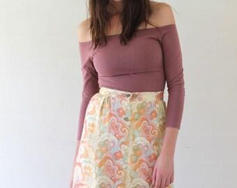 SALE Vintage 60's FLORAL Pattern Button Detail Skirt Size XS