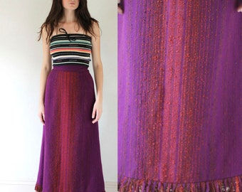 Amazing Vintage Scandinavian 60's WOVEN Wool Ombre FRINGE Maxi Skirt Size S