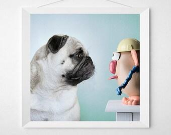 STAREDOWN Dog Art Print.  Art for a child's room or nursery, kids room, playroom art.