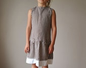 Brown Gingham Dress, size 6/7
