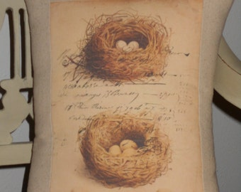 French Bird Nest Pillow with French Script, Cottage Throw Pillow,  Decorative Pillow Cover