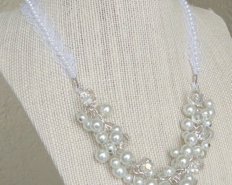 ON SALE Brides Gift DIAmond Look & White PEARL Cluster WEDDing Bridal Maid Of Honor Necklace By DYEnamite