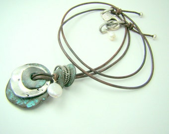 Stacked mixed metal pendant necklace, turquoise patina pendant, hammered disc necklace