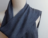 Handwoven Charcoal Gray and Black Merino Wool, Cotton and Silk Scarf for Men or Women