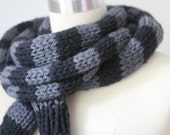 The Boyfriend Scarf. Hand Knit, Chunky Scarf, Striped, Skinny and Super Long, in Soft Merino Wool.
