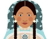 Native American Matryoshka Art Print, Kids Wall Art