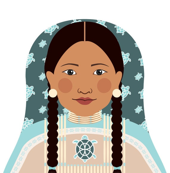 Native American Wall Art Print featuring traditional dress drawing in a Russian matryoshka nesting doll shape