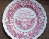 """Vintage Vernon Kilns Red and White Souvenir Plate """"Early Days"""" Pattern"""