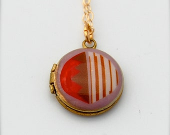"Miniature Tiny Locket Alyson Fox ""Candy"" Necklace Mini Gold Fill Chain Orange Bright Colors Jewelry"