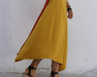 Womens skirt-Maxi skirt-Long skirt-Mustard Triangular skirt-2 way skirt-Maxi skirt-A shape skirt-Convertible skirt
