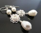 Bridal earrings, Swarovski crystal earrings, pearl drop earrings, wedding earrings, sterling silver earrings
