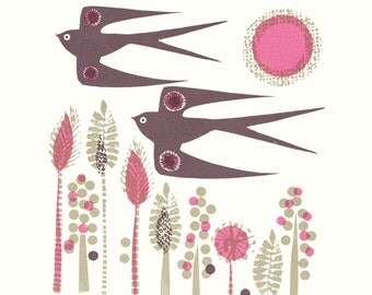 Swallows that follow limited edition screen print by Jane Ormes.