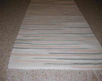 Handwoven White, Peach, Green Rag Rug 25 x 70