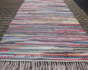 Handwoven Old Fasion Bright Multi Rag Rug 25 x 61 (M)