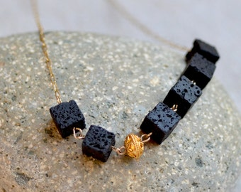 Black Lava Rock Necklace. Cube Rock Lava Necklace. Gold Necklace. Contemporary. Asymmetric. Gold Filled Chain Necklace.