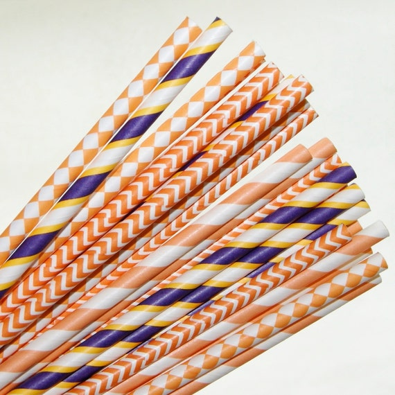25 orange and purple mix paper straws by hauntedswampdesigns. Black Bedroom Furniture Sets. Home Design Ideas