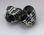Black Music Heart White Notes Treble Clef Handmade Lampwork Earring Pair Heather Behrendt BHV SRA LETeam