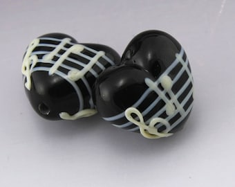 Black Music Heart White Notes Treble Clef Handmade Lampwork Earring Pair Heather Behrendt BHV SRA LETeam MTO