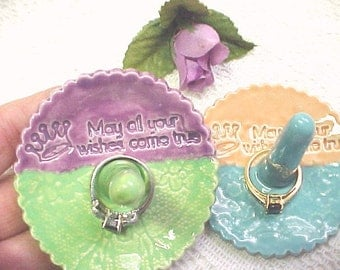 Ring Holder Dish ~May All Your Wishes Come True~ Choose Color Duo Fuchsia Spring Green Peach Aqua Turquoise Lace Design Pottery