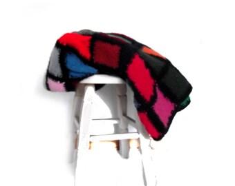 Afghan Blanket / Large Vintage Throw 70s 80s Patchwork Crochet Felted Blanket Color Block
