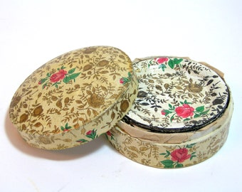Vintage Papermache Coasters In Box