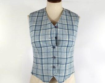 Pendleton Plaid Vest Vintage 1970s  Women's 70s Short fitted Blue White Wool