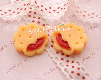 Biscuit Cookie Raspberry Kawaii Cabochon Decoden Sweets Deco - 5pcs