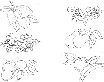 Fruit Days of the Week 1940s Hand Embroidery PATTERN PDF Instant Download