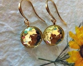 Citrine glass earrings