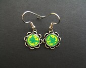 AMBROSIA AFFORDABLES 13 x13 mm Earrings Green Yellow