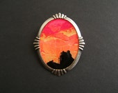 Nature at Night SUNSET 30 x 40 mm Hand Painted Cameo Pin