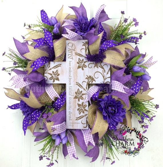 Mesh Spring Burlap Wreath - Lavender - Lent Cross Wreath Purple Ribbon
