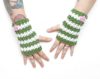 Striped Wrist Warmers in Green and White with Pink Hearts, ready to ship.