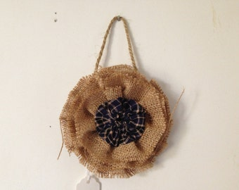Ornament for Christmas tree or holiday, burlap rosette flower with fabric Yoyo embellishment, 5 inch, circle