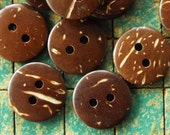 50 Buttons, 15mm, coconut shell buttons, about 9/16, sewing notions, hawaiian shirt, coconut  button, sewing supply, crafts
