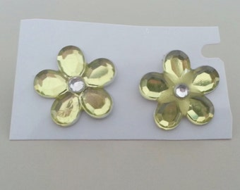 1960s-70s Five Faux Crystal with Rhinestone Earrings in YELLOW
