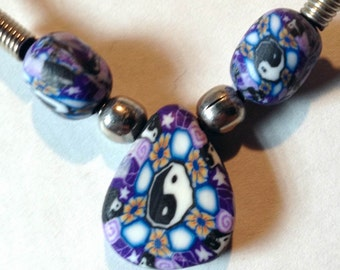 1960s Hippie Fimo YIN YANG Blue SPHERES  Dew Drop Pendant From Toy Machine