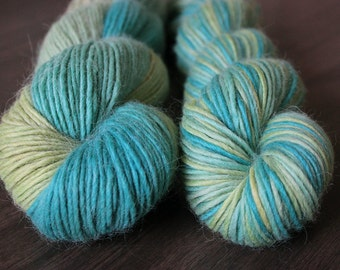 Haru - Alpaca, Merino, Silk single - OOAK - DK Sport yarn blue green variegated turquoise soft knit crochet