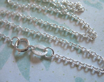1 pc, 16 or 18 inch, Sterling Silver Finished Chain, 2x1.5 mm Round Cable, wholesale chain with spring ring clasp done, solo d201.d hp